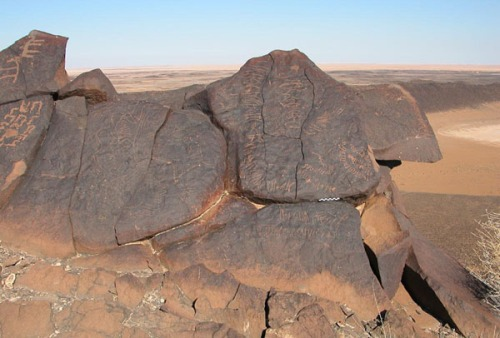 Inscriptions made by nomads on rocks in the Jordanian desert (Petra photo)